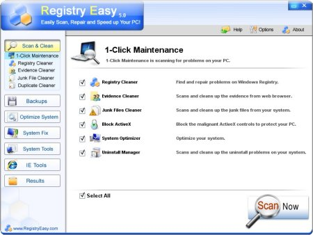 Registry Easy screen 1