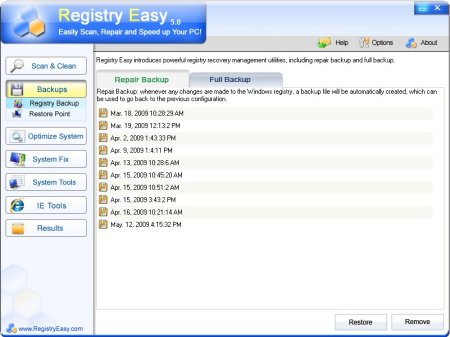 Registry Easy screen 5